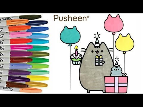 Pusheen Coloring Book Pusheen Cat Birthday Party How to Color Sprinkled Donuts - 동영상
