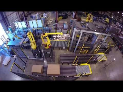 Robotic Case Palletizer - Kaufman Engineered System's K6 Full-tier Palletizer with FANUC Robots