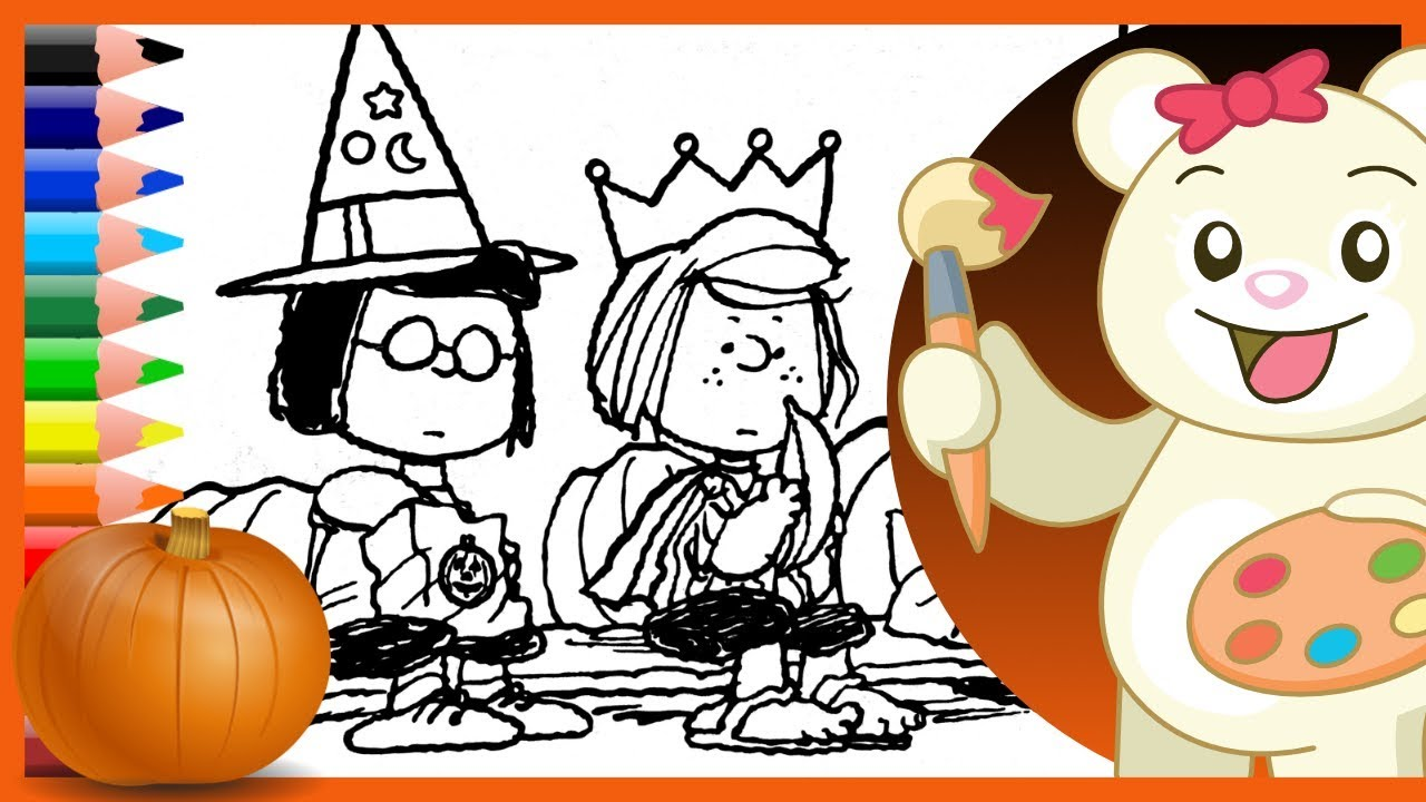 Spooky Trick Or Treating Halloween Charlie Brown Coloring Pages Brown Coloring Pages