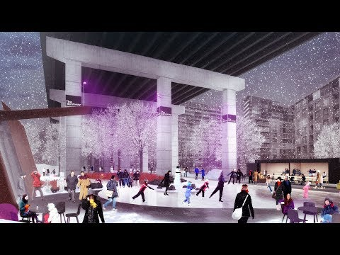 Ice-skating trail transforms unused space underneath Toronto highway