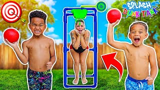 Splash Dunk Tank Challenge Family Fun Activities With Kyrie & DJ's Clubhouse!!