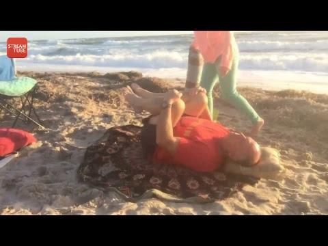 Restorative yoga class on the beach Live Sunrise Beach Yoga