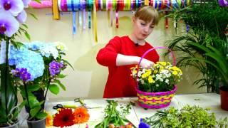 цветочная База 1 - Как собрать корзинку из цветов