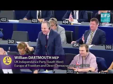 UKIP MEP William Dartmouth congratulates ex-president Barroso on his Goldman Sachs appointment