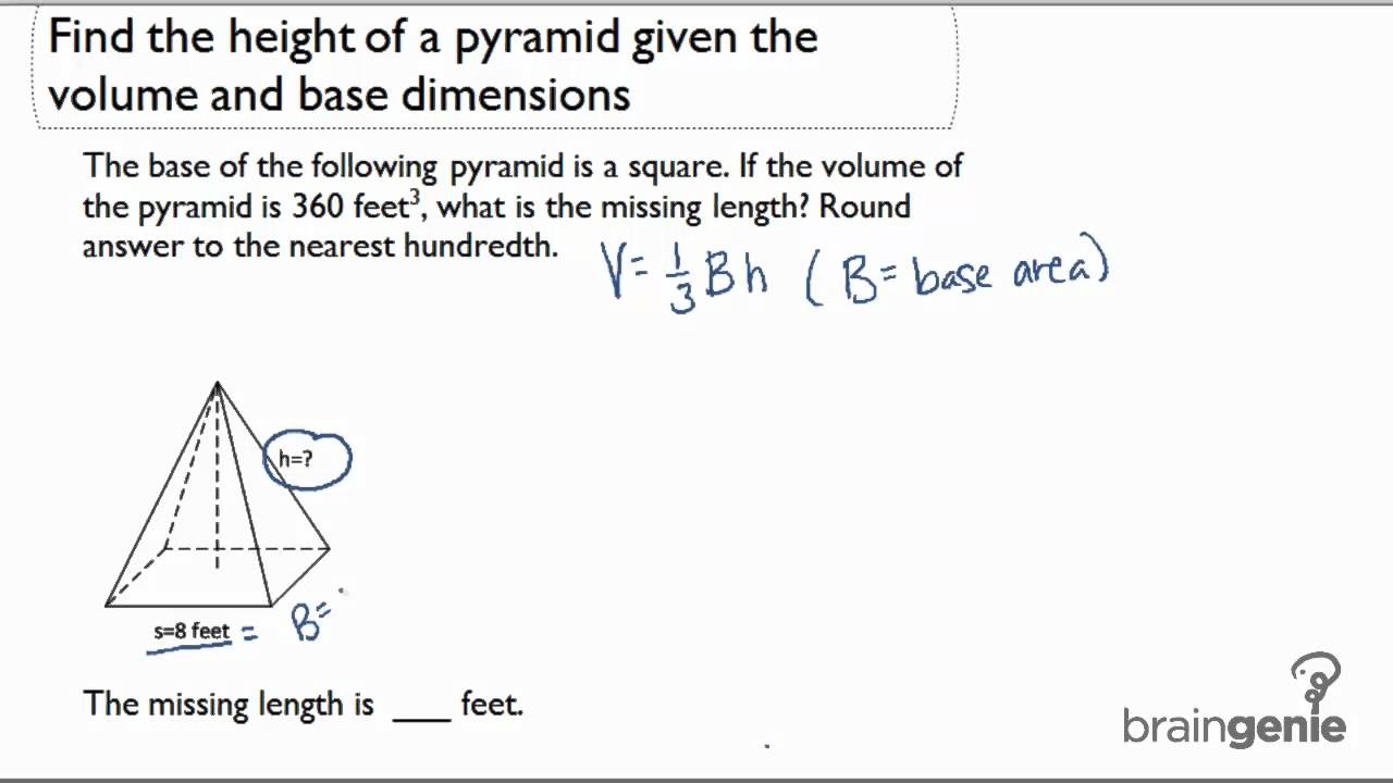 212 find the height of a pyramid given the volume and base 212 find the height of a pyramid given the volume and base dimensions youtube ccuart Choice Image