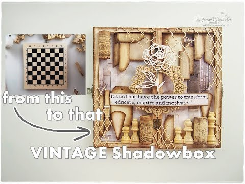DIY VINTAGE Shadowbox from Chessboard ♡ Maremi's Small Art ♡