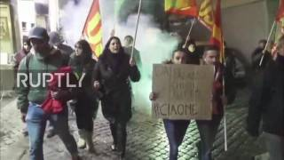 Italy  Workers union march to celebrate Renzi's 'No' in Rome