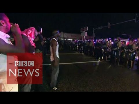 Shots fired at Ferguson protest during Michael Brown anniversary - BBC News