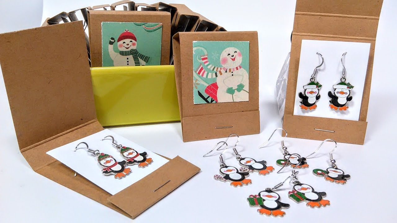 Penguin Earring Tutorial In Diy Matchbook Gift Packaging
