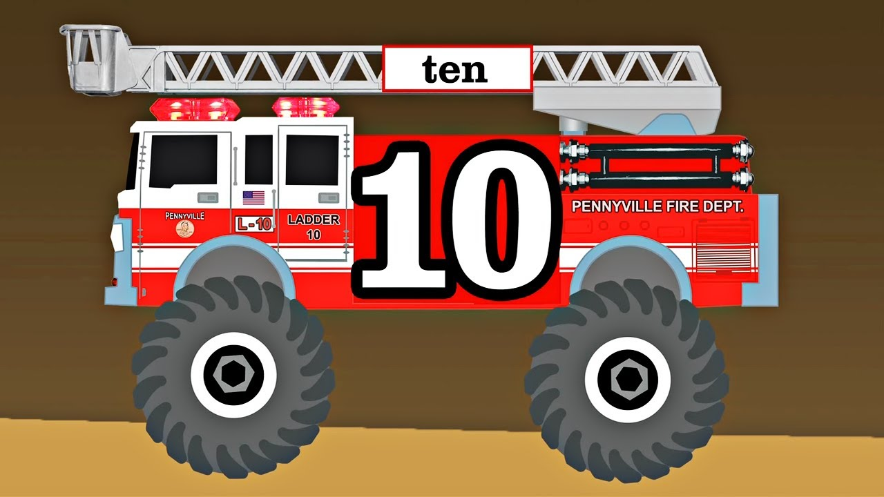 Monster Trucks Fire Trucks Teach Kids Counting & Numbers