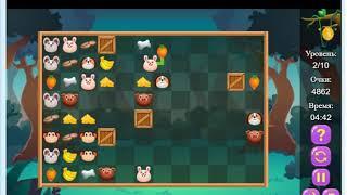 """Игры для детей. Маджонг Коннект """"Накорми животных""""."""