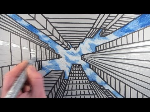 Perspective Drawings Of Buildings how to draw a city with dramatic perspective: stepstep - youtube