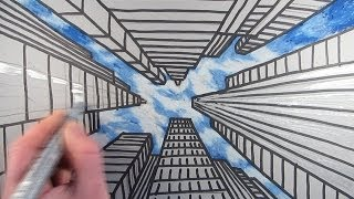 How to Draw a City with Dramatic Perspective: Step by Step