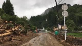 九州北部豪雨 国道211号 走行動画 東峰村(塔の元)~小石原道の駅