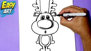 como dibujar un reno navidad,how to draw a Christmas reindeer, how to draw a reindeer