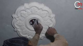 How To the Ceiling Medallion installation Pop flower fitting