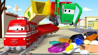 ゴミ収集車のギャリー 🚄 カーシティーにいる、列車のトロイと l 子供向けトラックアニメ Train Cartoons for Children thumbnail