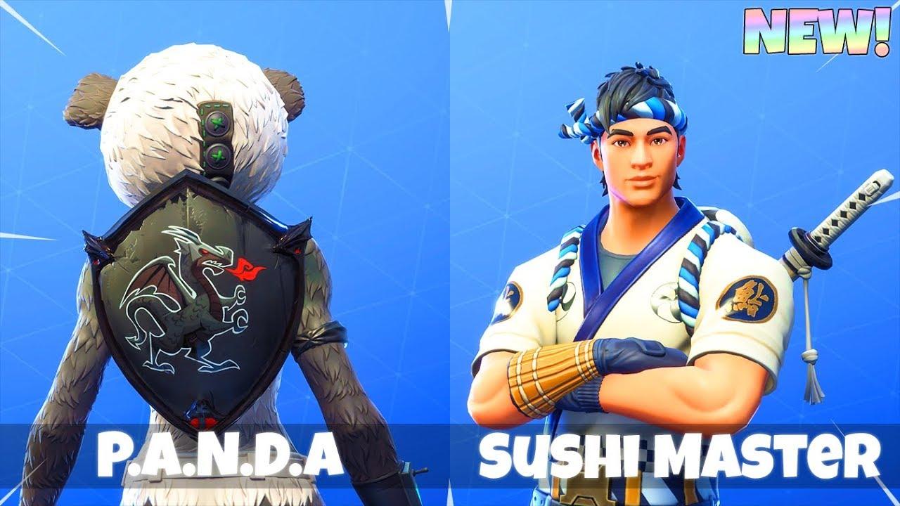 45 back blings on panda chef skins fortnite battle - Sushi skin fortnite ...
