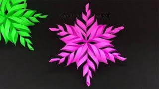 Weihnachten basteln: DIY Schneeflocken basteln mit Papier - Weihnachtsdeko Bastelideen. DIY Sterne