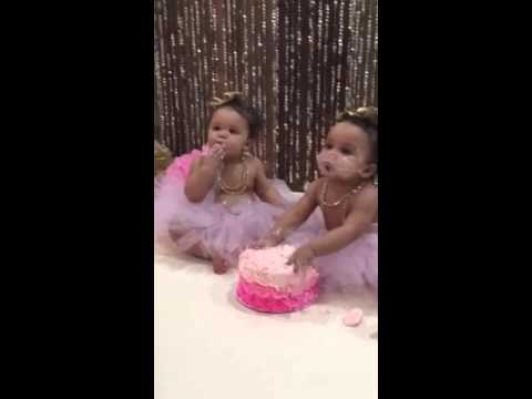 Twin girls first birthday cake smash Hilarious YouTube