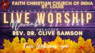 FCCIndia Live Worship 11/22/2020 | FCCI St. Louis | Happy Thanksgiving!