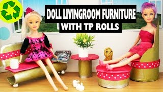 How to make doll furniture with toilet paper rolls - livingroom - Super Easy