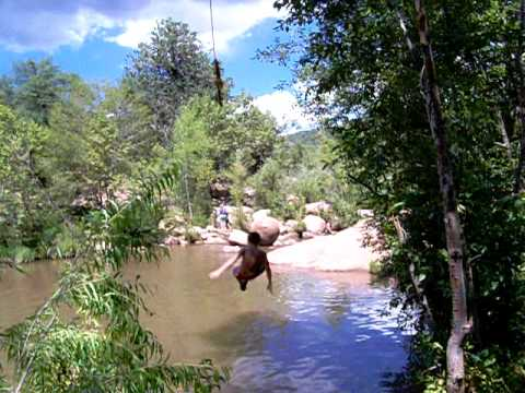 Z on the swing east verde river outside of payson arizona for Camping and fishing in arizona