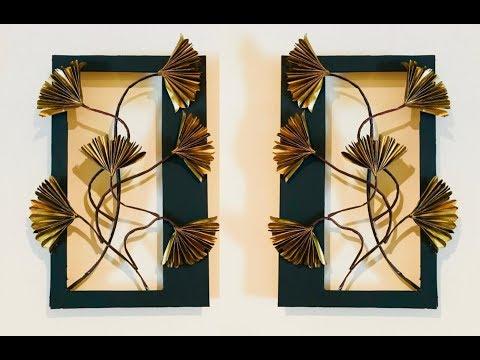 Golden Flower Wall Hanging  / Newspaper Wall Decor /DIY  Easy Wall Decor Craft Ideas | #015 |