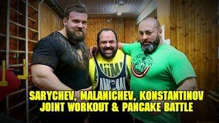 (Eng voice over) Sarychev, Malanichev, Konstantinov. Joint Workout & Pancake Battle