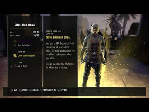 The Elder Scrolls Online - Assign Consumables Like Potions To Quick Slots Gameplay Tutorial (2015)