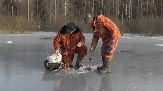 Зимняя рыбалка на ЖЕРЛИЦЫ по первому льду Отличный день