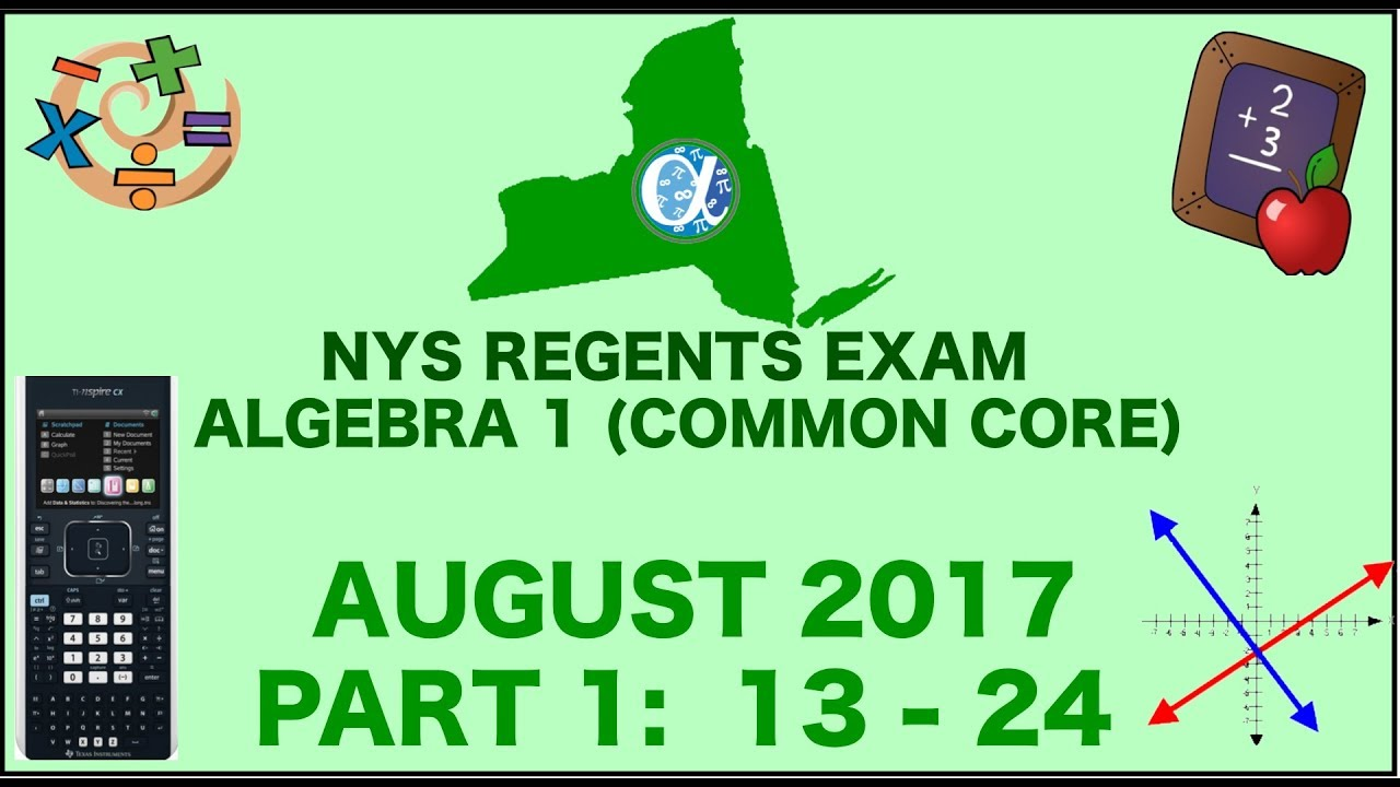 Algebra I Common Core Regents Exam - August 2017 (worksheets