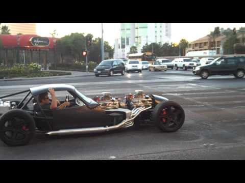 V16  ( 2 V8's) Hot rod smokin tire leaving sema show 09
