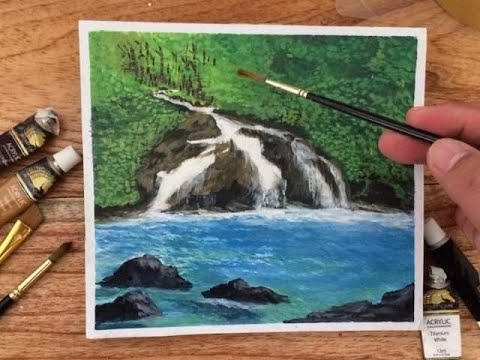 Waterfalls Simple Acrylic Painting/Easy Waterfall Landscape Painting Tutorial