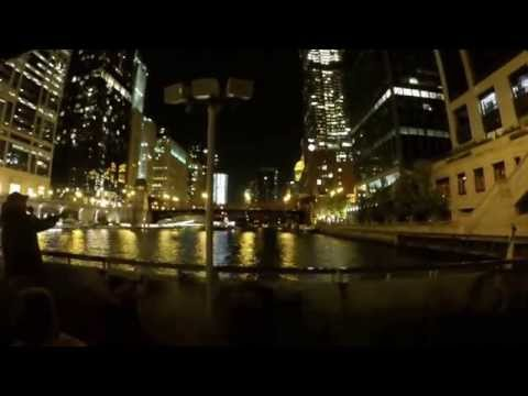 RV Living On The Road Full Time Chicago River Boat Tour At Night