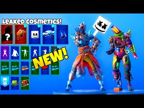 ALL LEAKED FORTNITE SKINS & EMOTES..!! (Marshmello Skin, FIRE KING, Keep It Mello) thumbnail