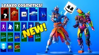 ALL LEAKED FORTNITE SKINS & EMOTES..!! (Marshmello Skin, FIRE KING, Keep It Mello)