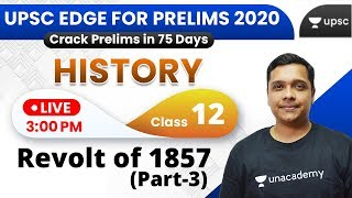 UPSC EDGE for Prelims 2020 | History by Pareek Sir | Revolt of 1857 (Part-3)