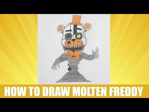 How to draw Molten Freddy, FNAF, Как нарисовать Молтен Фредди, ФНАФ