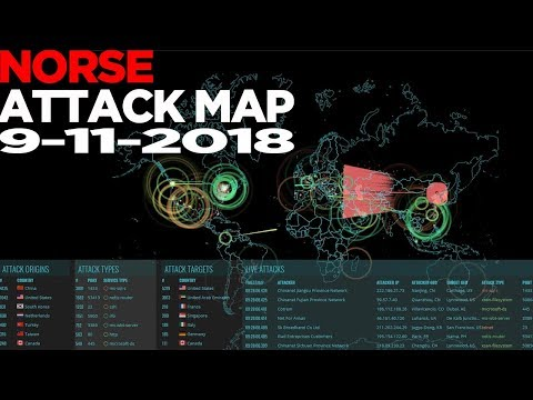 Norse Attack Map on 9-11-2018 - Global View - BotNet /  DDoS Live Footage