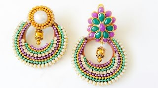 Chandbali earrings with quilling base||Two options(Tutorial)
