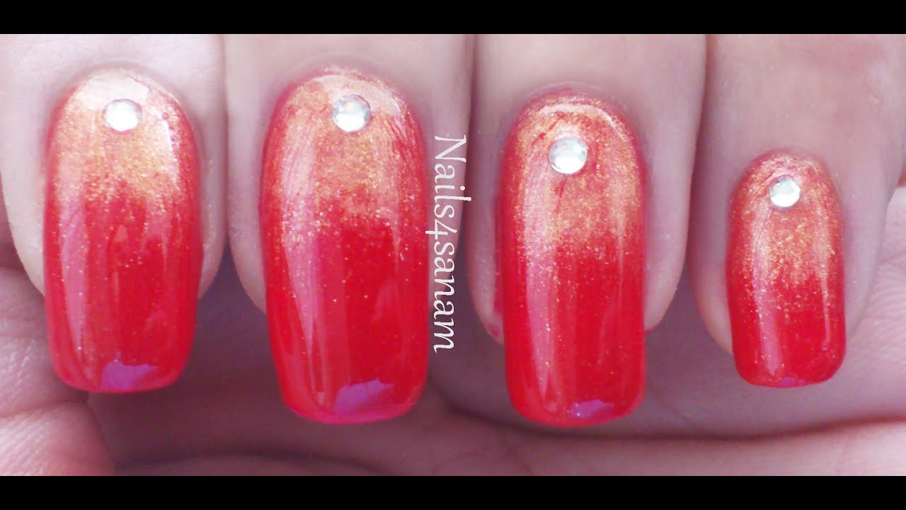 Sexy red gradient nails using eyeshadow youtube prinsesfo Image collections