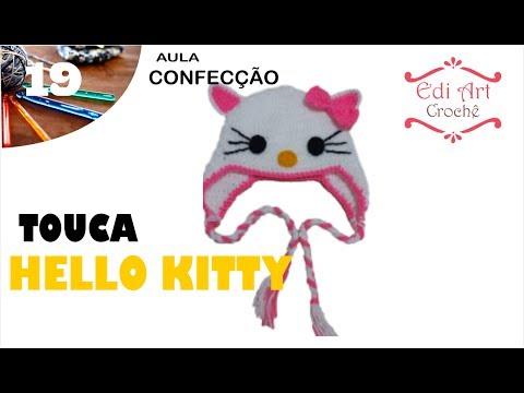 Touca Gorro Hello Kitty Crochet | Edi Art Crochê