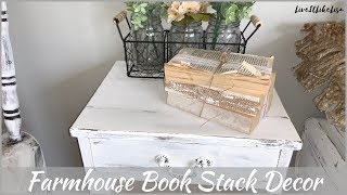 FARMHOUSE BEDROOM | Vintage Farmhouse Book Stack