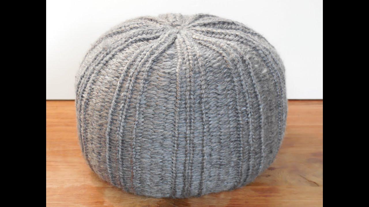 knit a pouf on knitting loom - YouTube