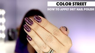 How to apply Color Street nail polish strips showcasing our popular glitter Bordeaux Glitz.