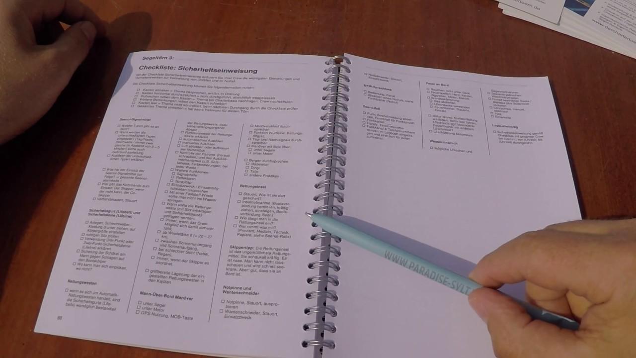 2/3 Charter-Logbuch - erklärt: Sicherheitseinweisung, Logbuchseiten ...