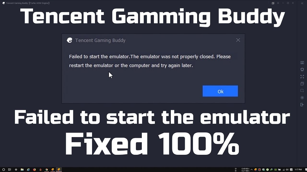 FIxed 100% - failed to start the emulator - Tencent Gaming Buddy PUBG MOBILE