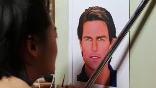 Painting of Tom Cruise (work in process44)