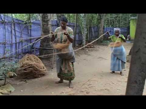 Coconut fibre rope making, Kerala, India